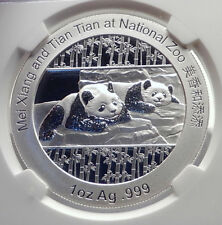 2014 CHINA Official 1oz Silver Mint Medal Coin PANDA Bears NGC Certified i70685
