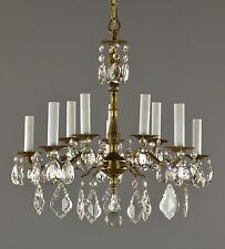 Spanish Brass Crystal Chandelier C1950 Vintage Antique Red Gold Ceiling