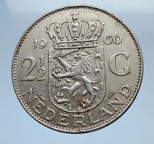 1960 Netherlands Kingdom Queen JULIANA 2 1/2 Gulden Authentic Silver Coin i69471