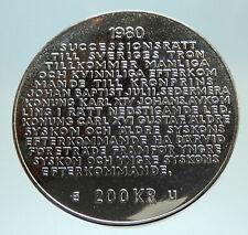 1980 Sweden GUSTAF VI Royal Succession Law Genuine Silver 200 Krona Coin i76804