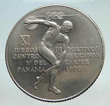 1970 PANAMA Olympic Style Games w GREEK DISC THROWER ATHLETE Silver Coin i74521