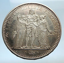 1965 FRANCE Large HERCULES Motto Antique Silver 10 FRANCS French Coin i74271