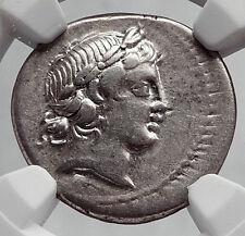 Roman Republic 82BC Rome APOLLO SATYR MARSYAS Ancient Silver Coin NGC i63421