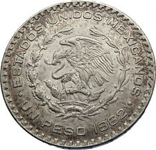 1962 Mexican Independence War HERO Jose Maria Morelos Peso Coin of Mexico i71922