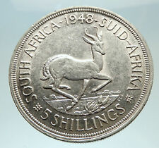 1948 SOUTH AFRICA George VI SPRINGBOK Deer Silver 5 Shillings LARGE Coin i76896