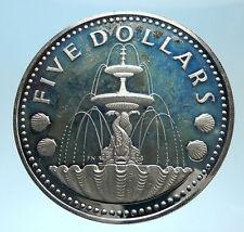 1973 BARBADOS Proof Arms Fountain Trafalgar Antique Silver 5 Dollars Coin i77502