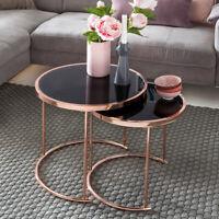 finebuy table basse verre metal o