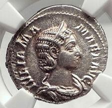 JULIA MAMAMEA Authentic 222AD Rome Ancient Silver Roman Coin w JUNO NGC i72758