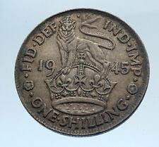 1945 United Kingdom Great Britain GEORGE VI Silver Shilling Coin LION i74335