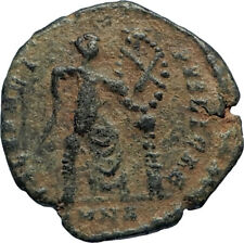 EUDOXIA Arcadius Wife 401AD Authentic Ancient Roman Coin VICTORY CHI-RHO i67196