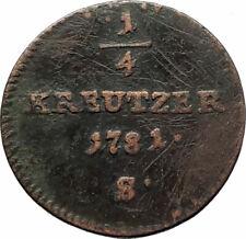 1781 AUSTRIA King Joseph II Genuine Antique 1/4 Kreuzer Austrian Coin i76540