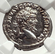 SEPTIMIUS SEVERUS Authentic Ancient 198AD Silver Roman Coin w MONETA NGC i72755