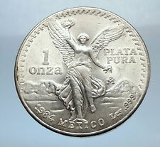 1984 MEXICO Large 3.6cm ONZA Troy Silver Ounce Mexican Coin VICTORY EAGLE i70759