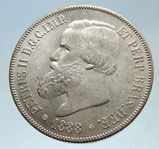 1888 BRAZIL w King Dom Pedro II Antique Brazilian Silver 2000 Reis Coin i75330