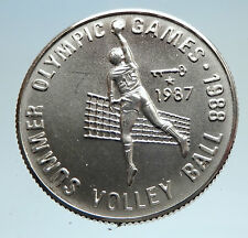 1987 AFGHANISTAN 1988 Summer Olympics Volleyball Genuine Silver 500A Coin i75151