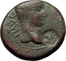 TIBERIUS Colonists Founding PARIUM OXEN Ancient Roman Coin w COUNTERMARK i70805