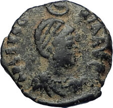 EUDOXIA Arcadius Wife 400AD Authentic Ancient Roman Coin GOD's HAND CROSS i67451