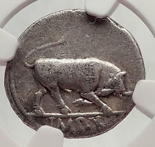 AUGUSTUS 15BC Authentic Ancient Silver Roman Coin BULL of Thourioi NGC i62474