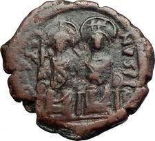 JUSTIN II & QUEEN Sophia Ancient Byzantine Half Follis Coin w CHI-RHO  i71242