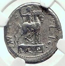Roman Republic 114BC Rome Ancient Silver Coin w ROMA & HORSE STATUE NGC i77273
