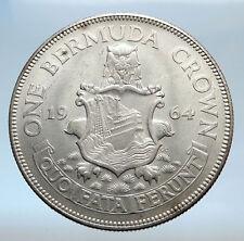 1964 Bermuda British Colony LARGE Elizabeth II Antique Silver Crown Coin i74076