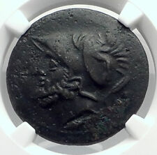 BRETTII in BRUTTIUM Authentic Ancient 214BC Greek Coin ARES NIKE NGC i77286