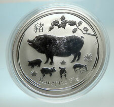 2019 AUSTRALIA Elizabeth II Chinese Zodiac Pig Year Genuine Silver Coin i76594