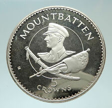 1980 TURKS AND CAICOS Lord Mountbatten Burma Genuine Silver 5 Crowns Coin i76886