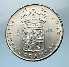 1965 SWEDEN King GUSTAV VI ADOLF 2 Kronor LARGE Silver SWEDISH Coin  i68225