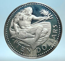 1973 BARBADOS Huge 4.2cm Genuine Proof Silver 10 Dollars Coin w NEPTUNE i77495