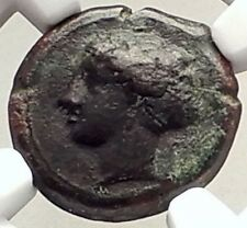 SYRACUSE in SICILY 405BC Ancient Greek Coin of Euainetos NYMPH STAR NGC i69337
