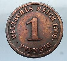 1908 J GERMANY 1 Pfennig Antique German Empire Coin of King WILHELM II i66830