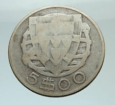 1933 PORTUGAL with PORTUGUESE SAILING SHIP Genuine Silver 5 Escudos Coin i75551