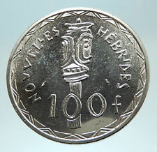 1966 New Hebrides Colony of France 100 Francs Silver BISJ Totem Pole Coin i76784