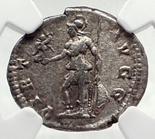 SEPTIMIUS SEVERUS Authentic Ancient 200AD Silver Roman Coin w VIRTUS NGC i72765