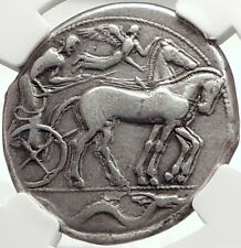 SYRACUSE Sicily 2nd Democracy 450BC RARE R1 Silver Tetradrachm Coin NGC i68726