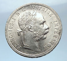 1877 AUSTRIA FRANZ JOSEPH I Silver Mint State Silver Florin Vintage Coin i73861