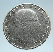 1938 YUGOSLAVIA King Peter II Crowned Eagle Genuine Silver 50 Dinara Coin i75230