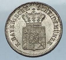 1863 GEMANY German States BAVARIA Silver 1 Kreuzer Coin Maximilian II i66829