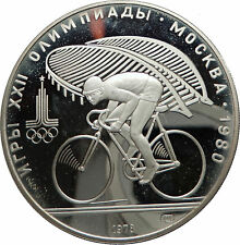 1980 MOSCOW Summer Olympics 1978 Proof Silver 10 Roubles Coin CYCLING i66965