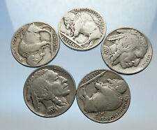 GROUP of 5 Antique UNITED STATES US Buffalo Nickel Coins NATIVE AMERICAN i70764