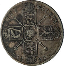 1921 United Kingdom Great Britain GEORGE V Silver Florin 2 Shillings Coin i71952
