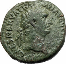 TRAJAN 98AD Large Genuine Authentic Ancient Roman Coin Victory w shield i76752