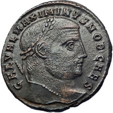 MAXIMINUS II Daia 308AD Silvered Ancient Roman Coin Nude Genius Wealth i73682