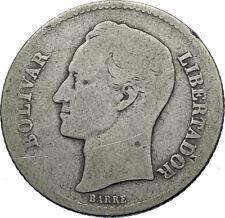 1926 Freemason President Simon Bolivar VENEZUELA Founder Silver Coin i71943