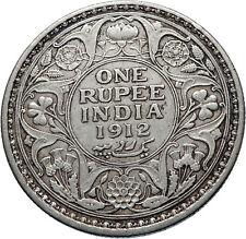 1912 INDIA UK King George V Silver Antique RUPEE Vintage Indian Coin i71850
