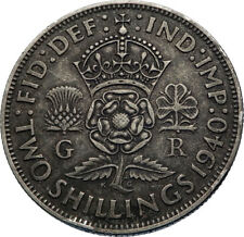 1940 United Kingdom Great Britain GEORGE VI Silver Florin 2Shillings Coin i71950