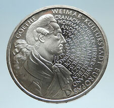 1998 GERMANY JW Von Goethe Writer Politician Genuine Silver 10 Mark Coin i75201