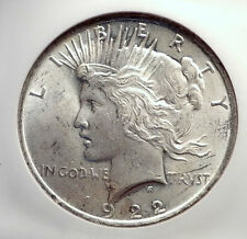 1922 US Silver PEACE DOLLAR Large United States Coin LIBERTY & EAGLE NGC i70574