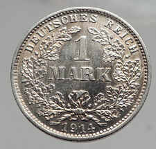 1914 WILHELM II of GERMANY 1 Mark Antique German Empire Silver Coin Eagle i64594